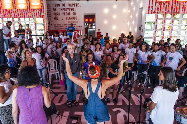 Three groups from Recife in Northeastern, Brazil gather at Paco do Frevo (http://www.pacodofrevo.org.br/) for a LADAMA performance and workshop. Featured here are students from Portu Digital, Integrarte, and Escola Rotary Alto do Pascoal. Photo by Ana Lira